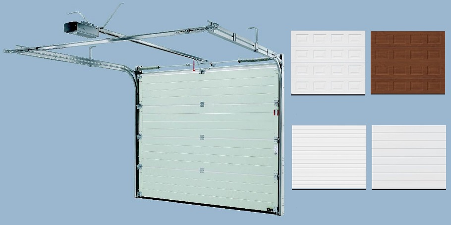 Sectional garage door mechanism